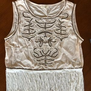 Beaded fringe top—boutique, worn once